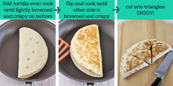 three images showing how to make easy breakfast quesadillas