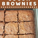 pan of cut brownies with a text overlay that says now cook this Easy Homemade Cocoa Brownies