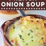bowl of french onion soup with a text overlay that says now cook this easy homemade french onion soup