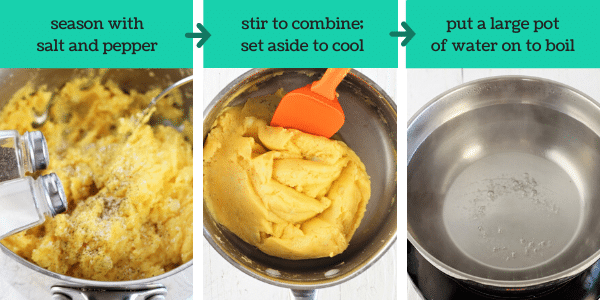 three images showing steps to make homemade pierogi