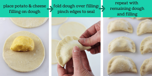 three images showing how to make homemade pierogi
