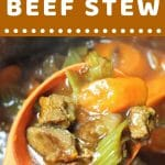 spoonful of beef stew being taken out of a pot with a text overlay that says now cook this instant pot beef stew