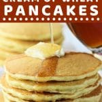 stack of pancakes with syrup being poured over them with a text overlay that says now cook this malted cream of wheat pancakes
