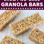 4 granola bars on a white surface with a text overlay that says now cook this oat and honey chewy no-bake granola bars