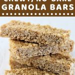stack of granola bars with a text overlay that says now cook this oat and honey chewy no-bake granola bars