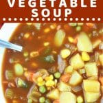 bowl of vegetable soup with a text overlay that says now cook this spicy tomato vegetable soup