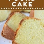 slices of pound cake on a plate with a text overlay that says now cook this vanilla almond pound cake