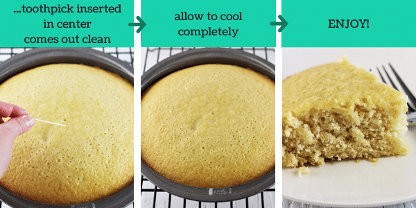 three images showing how to make vanilla wacky cake