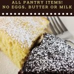 one piece of vanilla cake and one piece of chocolate cake on a plate with a text overlay that says now cook this wacky cake all pantry items no eggs, butter or milk