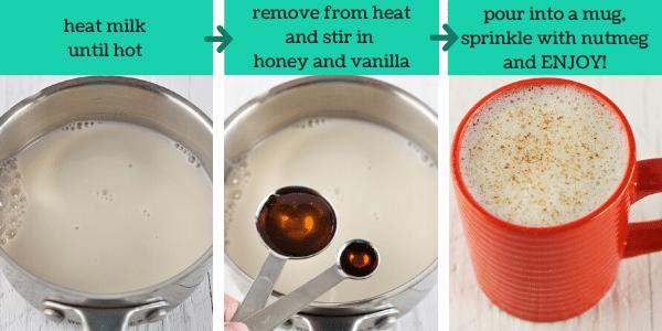 three images showing steps to make warm vanilla milk bedtime drink