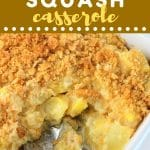 baking dish of yellow squash casserole with a serving spoon with a text overlay that says now cook this yellow squash casserole