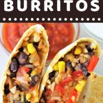 burritos cut in half on a plate with sour cream and salsa on the side with a text overlay that says now cook this black bean and rice burritos