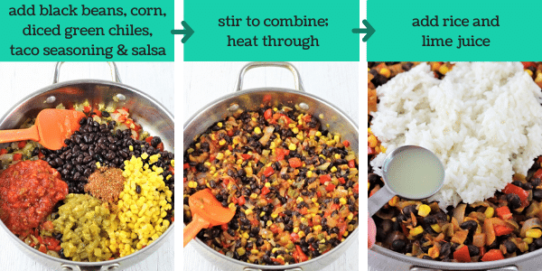 three images showing steps to make black bean and rice burritos