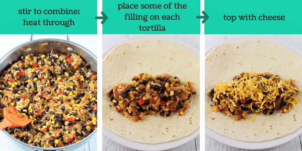 three images showing how to make black bean and rice burritos