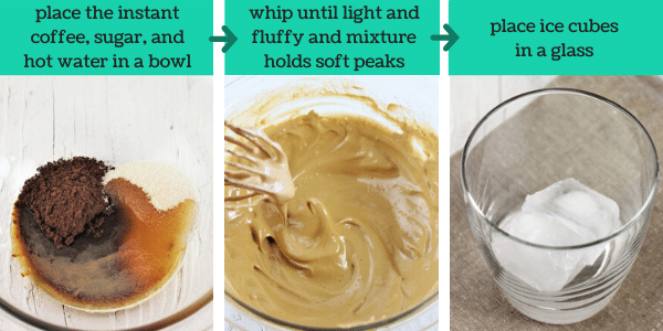 three images showing steps to make caramel whipped coffee