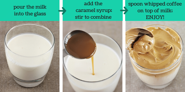 three images showing how to make caramel whipped coffee