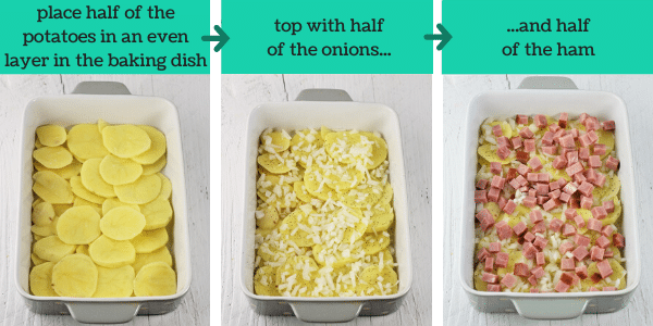 three images showing steps to make cheesy ham and scalloped potato casserole