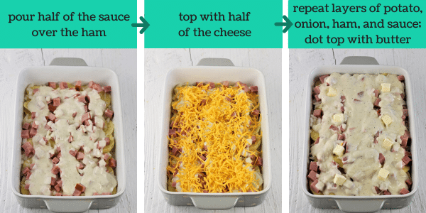 three images showing how to make cheesy scalloped potato casserole