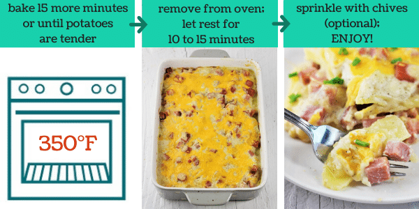 three images showing how to make cheesy ham and scalloped potato casserole
