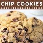 plate of cookies with a text overlay that says now cook this big, thick, bakery-style chocolate chip cookies