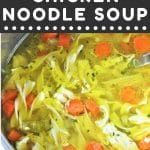 chicken noodle soup in an instant pot with a text overlay that says now cook this instant pot chicken noodle soup