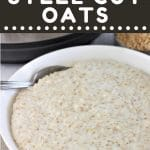 bowl of steel cut oats with a spoon with a text overlay that says now cook this instant pot steel cut oats