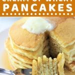 stack of pancakes with a forkful with a text overlay that says now cook this malted cream of wheat pancakes