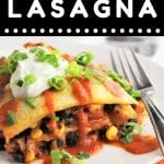 piece of mexican lasagna on a white plate with a fork with a text overlay that says now cook this mexican lasagna