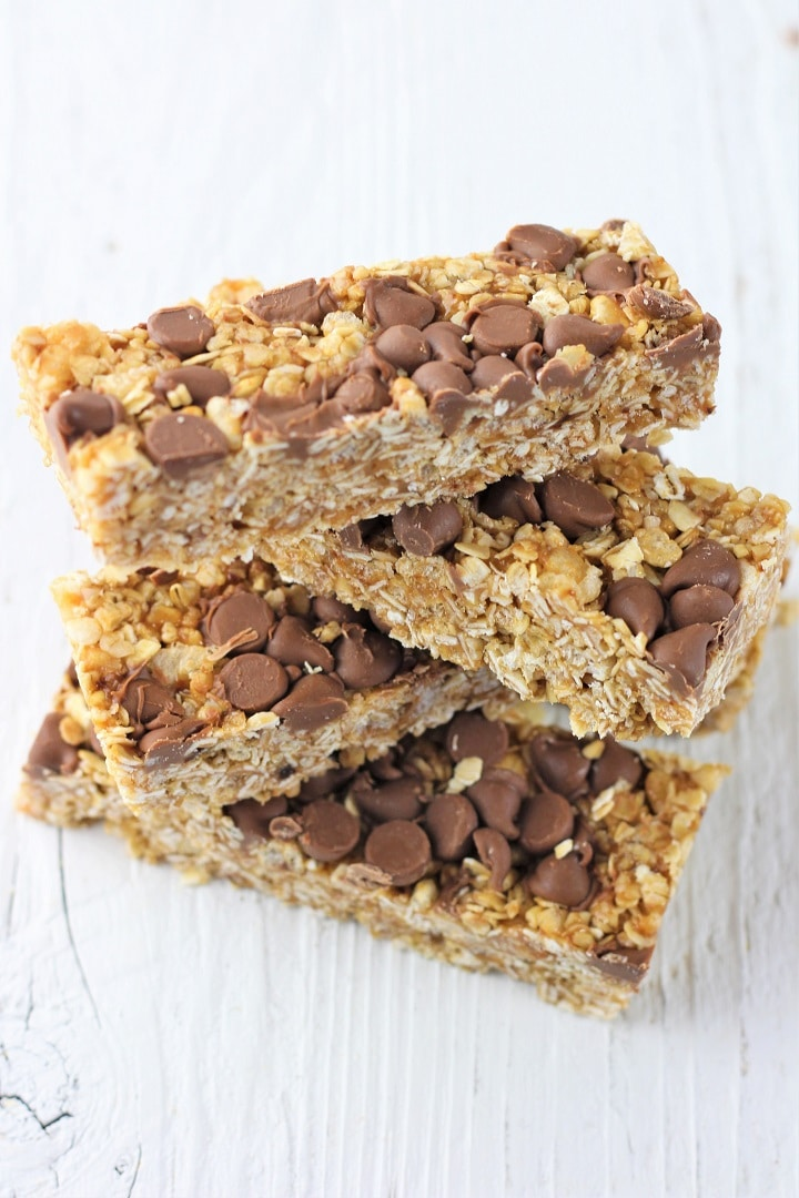 4 peanut butter chocolate chip granola bars stacked on top of one another
