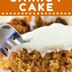 piece of pineapple carrot cake with a forkful being taken out with a text overlay that says now cook this pineapple carrot cake