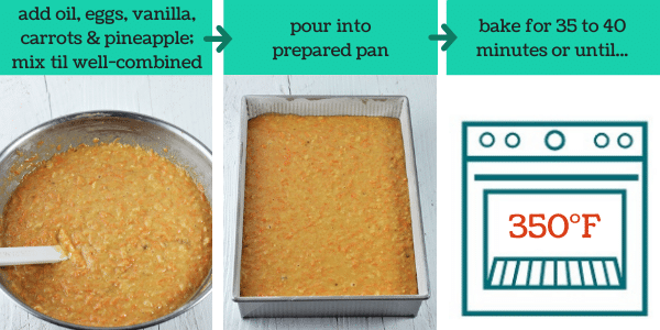 three images showing steps to make pineapple carrot cake