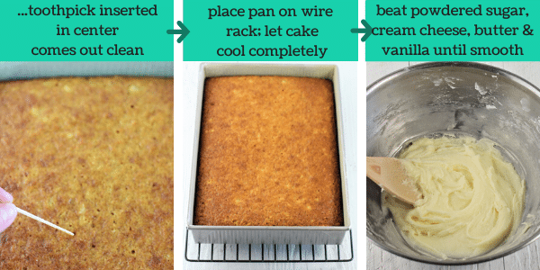 three images showing how to make pineapple carrot cake