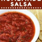 bowl of salsa with tortilla chips on the side with a text overlay that says now cook this quick and easy homemade salsa