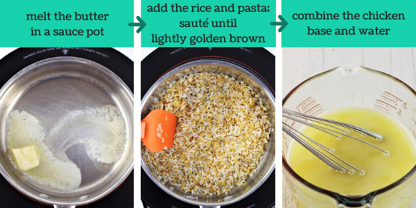 three images showing steps to make rice and pasta pilaf