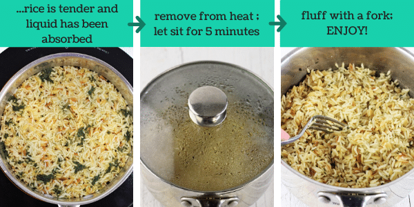 three images showing how to make rice and pasta pilaf