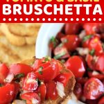 hand holding a piece of bruschetta with a text overlay that says now cook this easy appetizer tomato and basil bruschetta