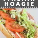 whole hoagie on a white plate with a text overlay that says now cook this turkey italian hoagie