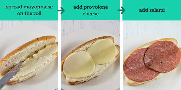 three images showing steps to make a turkey italian hoagie