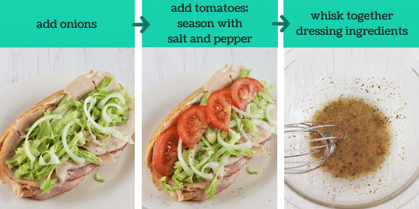 three images showing how to make a turkey italian hoagie
