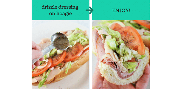 two images showing how to make a turkey italian hoagie