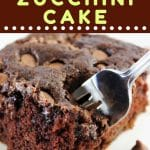 piece of chocolate cake with a fork taking a piece out with a text overlay that says now cook this chocolate zucchini cake