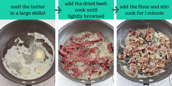 three images showing the steps to make creamed chipped beef on toast