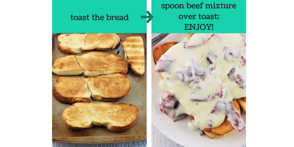 two images showing how to make creamed chipped beef on toast