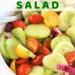 cucumbers onions and tomatoes in a bowl with a text overlay that says cucumber tomato and onion salad nowcookthis.com