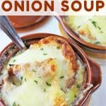 two crocks of french onion soup with a text overlay that says easy homemade french onion soup nowcookthis.com