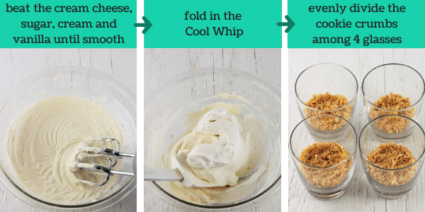 three images showing the steps to make easy no bake cheesecake cups