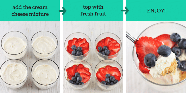 three images showing how to make easy no bake cheesecake cups