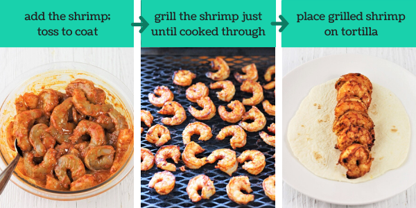 three images showing the steps to make grilled shrimp tacos