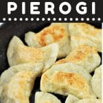fried pierogi in a cast iron skillet with a text overlay that says now cook this homemade potato and cheese pierogi