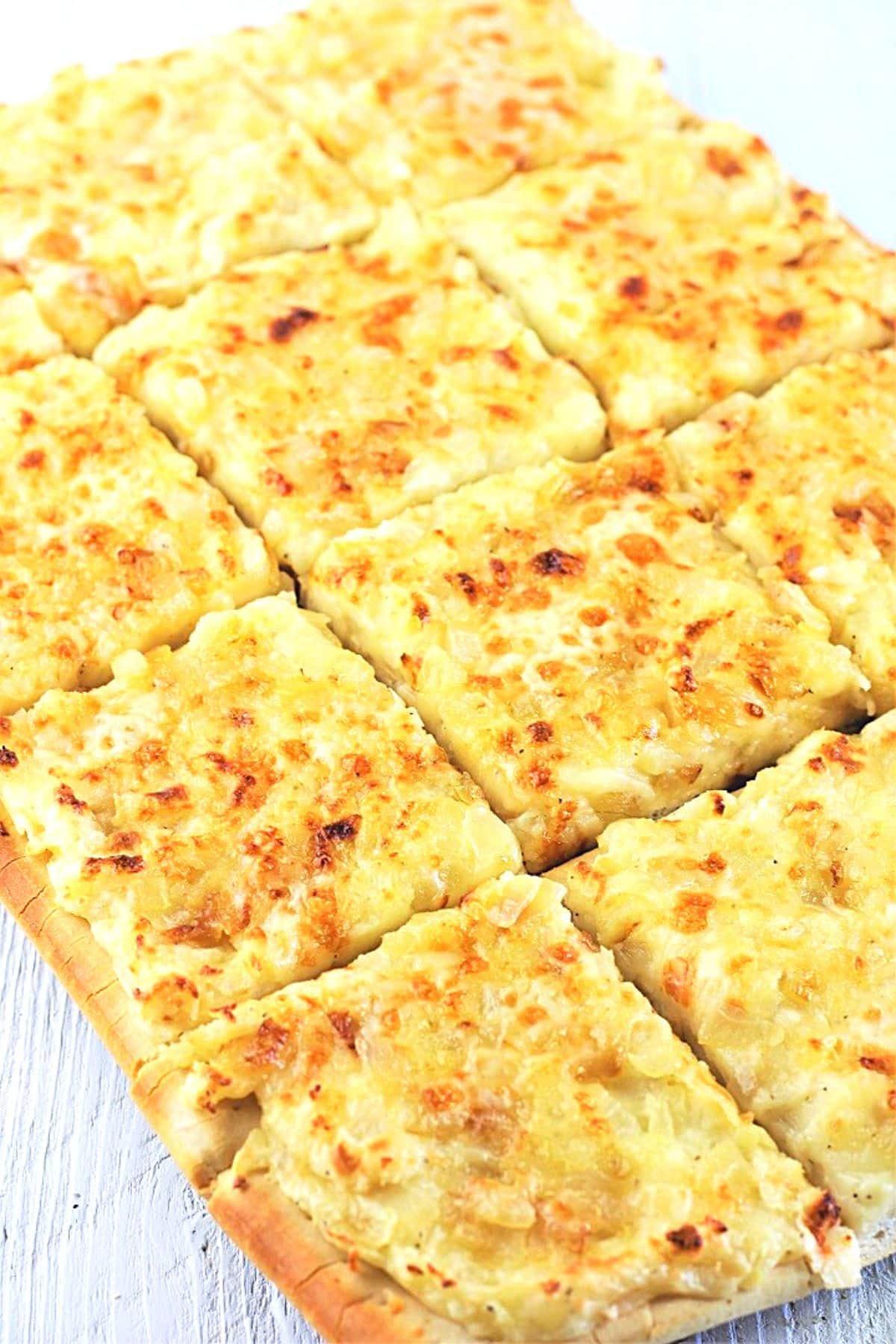 pagach pierogi pizza cut into squares